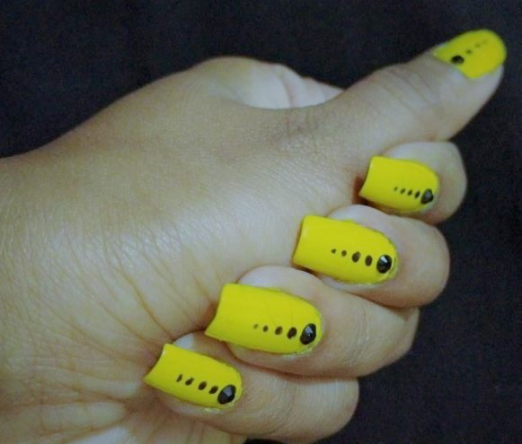 Quick Simple Bright Yellow Color Nail Art Girlyvirly